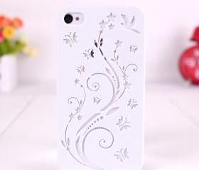 Flowers and Butterfly Relief Frosted Case For Iphone 4/4S