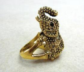 Vintage Gold Elephant Ring