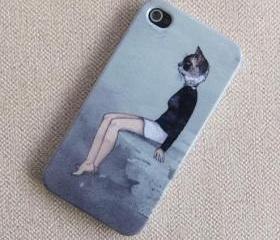 iPhone 4s Case/iPhone 4,4s Cover/Hard Plastic Case/cat girl iphone case/cat iphone cover/gift for christmas