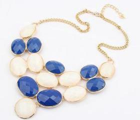 Blue and white bubble necklace,Exaggerated necklace, bubble necklace,bib necklace,bib Bubble Necklace,bridesmaid gifts,Christmas gift
