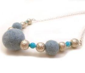 Blue Silver Beaded Chain Necklace, Felted Jewelry, Light blue Wool Felted Chunky Necklace,Semi precious stones Agate beads