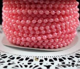 5 yards - 4mm Pearls - Cotton Candy Pink