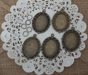 5 - Antique Brass Cameo Charms