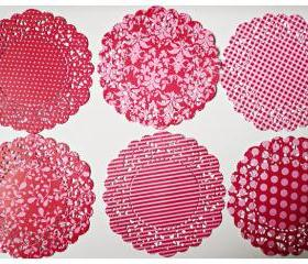 Parisian Lace Doily Red for Scrap booking or card making / pack