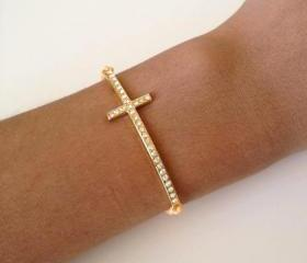 Rhinestone Cross Friendship Bracelet