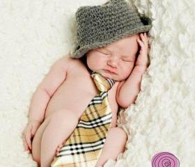 Genuine ORIGINAL design baby boy fedora hat photography props newborn to 3 months handmade in Canada