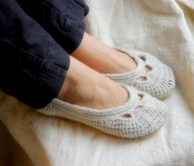 Crochet Pattern for Womens House Slipper the Adult Yoke Ballet Flat PDF Pattern number 110