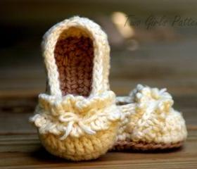 Baby Booties Crochet Pattern Ruffle Ballet Flats PDF Crochet Pattern - Pattern number 108