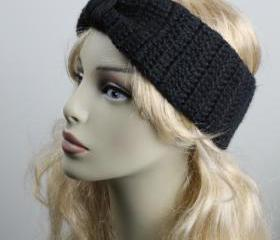 Woman handmade knitted crochet headband head warmer hat cap black