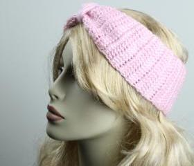 Woman handmade knitted crochet headband head warmer hat cap pink
