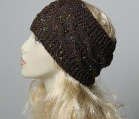 Woman handmade knitted crochet headband head warmer hat cap brown