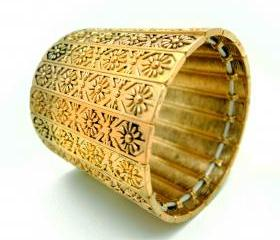 Matted Gold Floral Engraved Thick Hand Cuff
