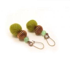 Green Copper Beaded Earrings 
