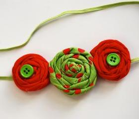 Christmas rosettes in green and red polka dots holiday baby, toddler, girls, women handmade elastic