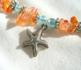 Starfish Ankle Bracelet Seahorse Beach Comber Peach Blue Sand Sun 