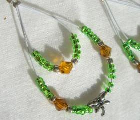Dragonfly Earrings Swarovski Hoops Lightweight Bright Green Silver