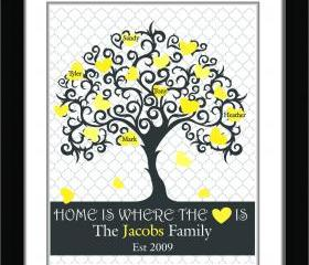 Personalized Family Tree //custom anniversary print//custom art print//housewarming gift, wedding gift 11x14