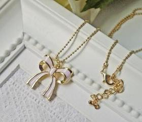 Little Pink Ribbon Necklace. Matte Gold. Feminine. Dainty. Modern. Simplicity
