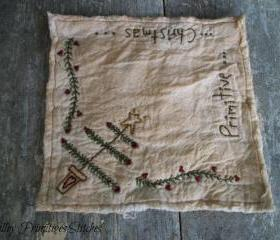 Primitive Christmas Candle Mat, Hand Stitched, Christmas Tree