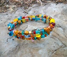 Beautiful Handmade Wrap Bracelet in Carnival Mix of Czech Glass Beads