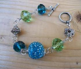Handmade Wire Bracelet with Aqua-Blue and Light-Green Beads