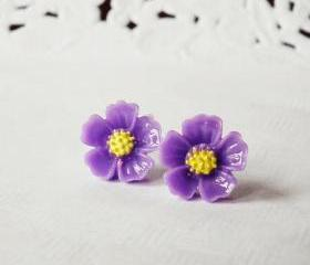 Purple blossom earring - 925 sterling silver post earring