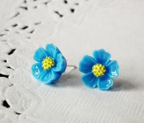 Blue blossom stud earring - 925 sterling silver post earring
