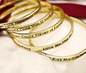 Inspiring Quotes Vintage Gold Bangle