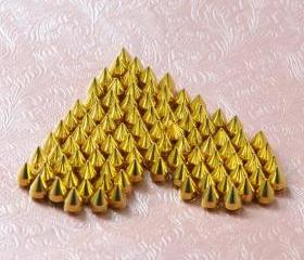 50pcs 9.5mm Gold cone Rivet Spikes Stud Punk rock Bag Belt Leathercraft Accessories DIY Free Shipping