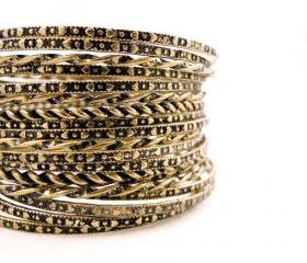 Bronze Engraved Bangle Set