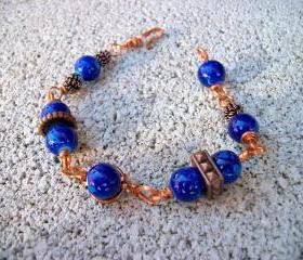 Handmade Copper-Wire and Blue Beaded Bracelet