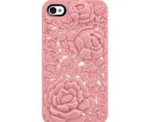 Unique Design Pink Rose Embossing Case for iPhone 4/4S