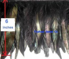 Clothing costume coque feather fringe couture applique trimming craft black 10y