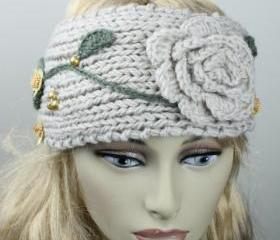 Woman handmade knitted crochet headband head warmer with flowers hat cap pumpkin
