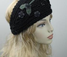 Woman handmade knitted crochet headband head warmer with flowers hat cap black