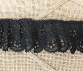 4 yards - 2 in. Ruffled Black Flower Lace trim