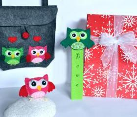 Surprise box for children, girl, bag, brooch, bookmark, surprise, felt, present, owl