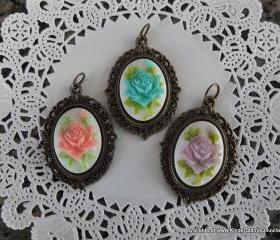 1 - Victorian Rose Cameo Charms (Choose Pink, Blue or Purple)