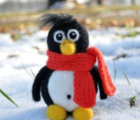 Needle felted penguin with orange scarf, winter, present, gift, black