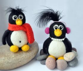 Needle felted penguin with pink earphones and necklace, winter, present, gift, black