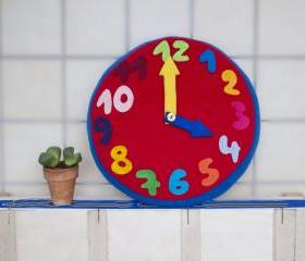 Fleece clock, learning time, nursery clock, colorful, felt clock, pillow, decor, red, yellow, blue