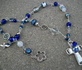 Blue and Silver Wire Necklace with Cross Pendant