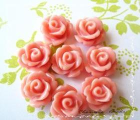 30 Resin Mini Roses Mum Flower Cabochons Accessory 10x6.5mm