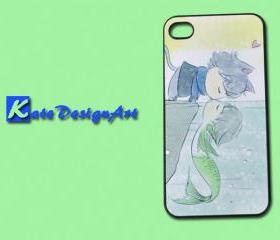 iPhone 4 case iPhone 4s case - Cartoon lovers mermaid iphone case