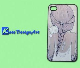 iphone case, iphone 4 case, iphone 4s case - Girl with Cat iphone 4s case
