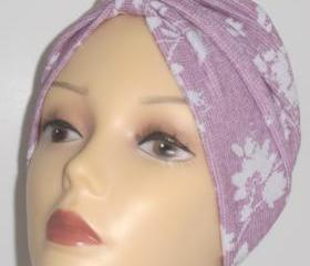 Pink with White Flowers Print Soft Knit Chemo Turban Headcover Cap Alopecia Hijab - Free Shipping in the USA