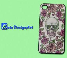 iphone case, iphone 4 case, iphone 4s case - rose skeleton head iphone 4 case skull