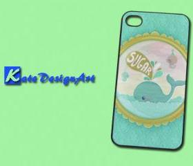 The blue whale iphone 4 case, graphic iphone 4 case, iphone case