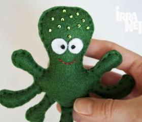 Octopus, felt fridge magnet, green, sea creatures collection