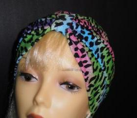 Rainbow Cheetah Animal Print Soft Knit Chemo Turban Headcover Cap Alopecia Hijab - Free Shipping in the USA